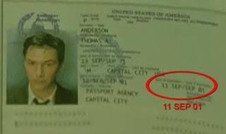 neo's passport in the matrix expired on 9/11/2001