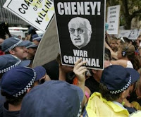 cheney arrival is met with protests