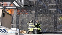 falling equipment hits 2 at wtc building