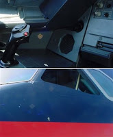 bullet fired by pilot pierced cockpit wall