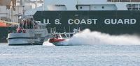 guns blaze & spray flies as guard runs harbor drill