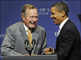 poppy bush shares texas stage with obama