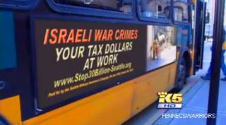 'israeli war crimes' signs go on metro buses