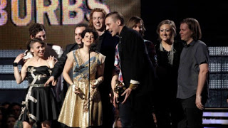 indie band arcade fire pulls 'album of the year' upset at grammys